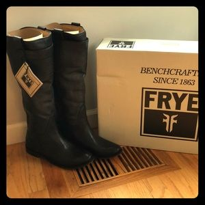 Frye Paige tall riding boot black leather